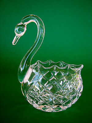 Vintage Crystal Swan Trinket Dish or Posy Vase For The Dressing Table