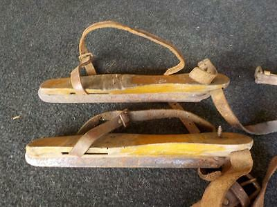 Antique One Pair Of Wooden Ice Skates With Leather Straps