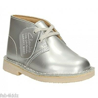 find workmanship exclusive shoes entire collection CLARKS ORIGINALS GIRLS Desert Boot DesertBoot Inf silver ...