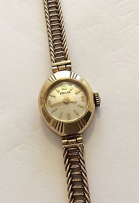 Beautiful Ladies ( London 1963 ) Solid 9ct Gold Enicar Bracelet Watch - All Gold