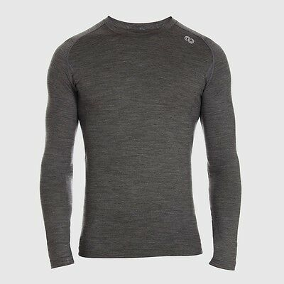 REDA Rewoolution Explorer - Mens T-Shirt Long Sleeve 190, charcoal, Merinowolle