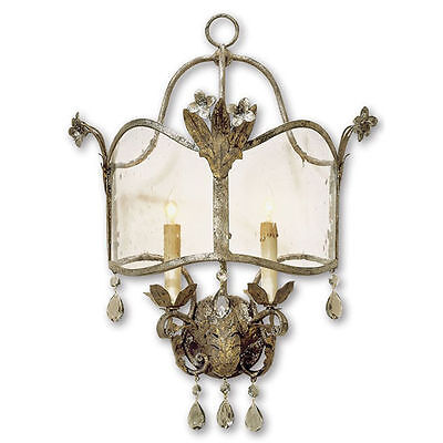 Zara Viejo Gold/Silver with Seeded Glass Traditional Wall Sconce