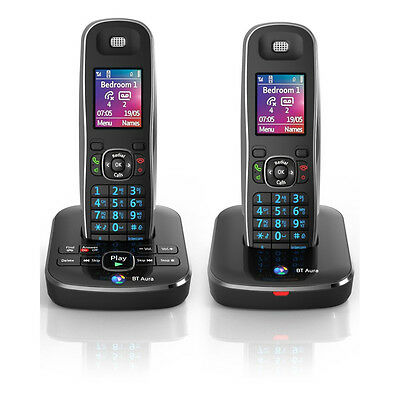 BT AURA1500-TWIN Digital Cordless Double Phone with Answering Machine in Black