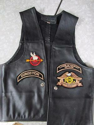 Harley-Davidson Black Leather Ladies Motorcycle Vest - Size 40 with HOG patches