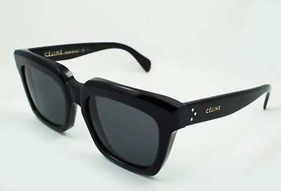 Celine CL41023 807BN Traveller Sunglasses Black Square Frame Solid Gray Lens