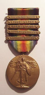VINTAGE WW I Victory Medal and 5 Battle Bars