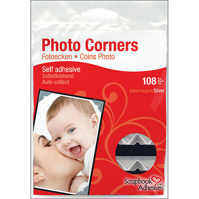 """Scrapbook Adhesives Paper Photo Corners Self-Adhesive 108/Pk-Silver, Set Of 4"""