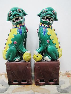 Pair of Vintage Chinese Porcelain Foo Dogs