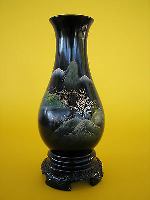 Vintage Chinese Oriental Lacquer Ware Vase - Mountain Scene Vase Flying Horse