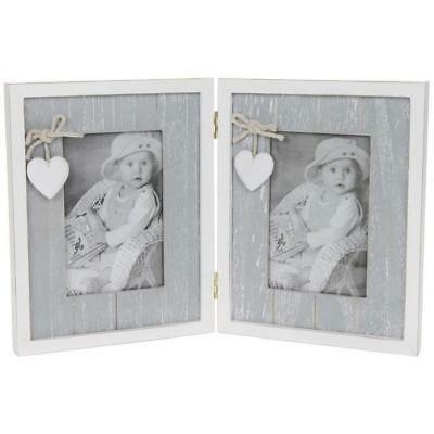 Shabby Chic Vintage Style Grey Heart Double Photo Picture Frame New 42213