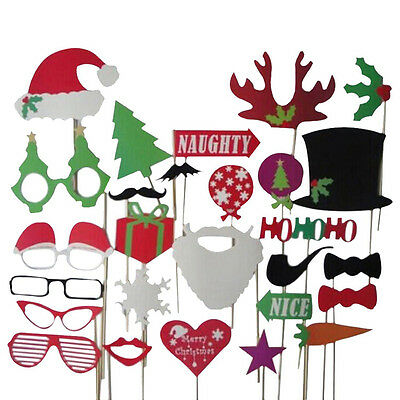 27pcs Christmas Santa Hat Party Masks Photo Booth Props Mustache On A Stick New