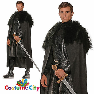 Mens Black Fur Trim Medieval Nights Watch Snow Cape Fancy Dress Accessory