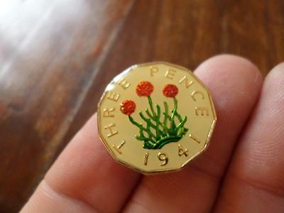 Lucky Charm Vintage Enamelled Threepence Coin 1941. Birthday Xmas Christmas Gift