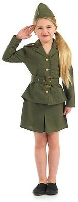 Girls Ww2 Army Girl Costume For Military Soldier Fancy Dress Kids Childrens
