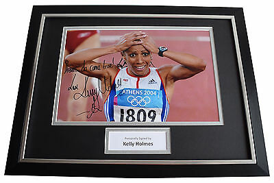 Kelly Holmes SIGNED FRAMED Photo Autograph 16x12 display Olympic Inscription COA