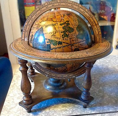 Vintage Italy Spinning Display Wooden Zodiac World Globe Terra Old Map Decor