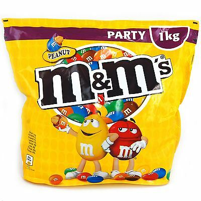 M&M's Peanut 1KG Party Pack Chocolate Covered Peanuts Sweets Large Sharing Pouch