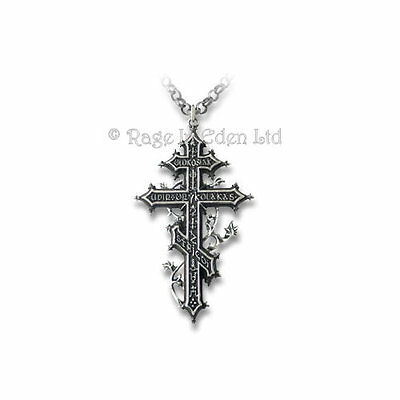 *BALKAN REVENANT'S CROSS* Alchemy Gothic Two Tone Pewter Vampire Pendant (P482)