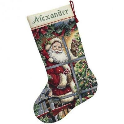 """Gold Collection Candy Cane Santa Stocking Counted Cross Stit-16"""" Long 16 Count"""