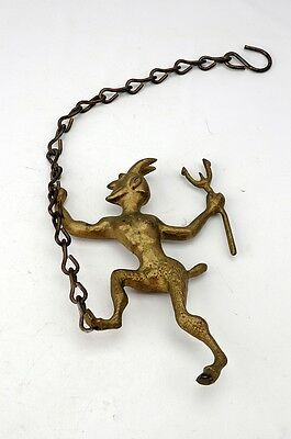 Antique Victorian Devil Satyr Chimney Damper Pull 1800's AH10041603
