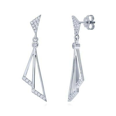 BERRICLE Sterling Silver Cubic Zirconia CZ Triangle Fashion Dangle Drop Earrings