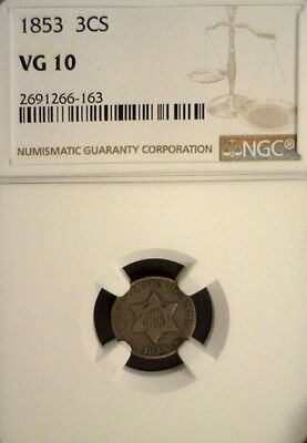 1853 3 Cent Silver Ngc Vg10  (1379Nam)