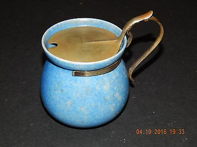 Clews & Co Chameleon Ware Mottled Blue Pot With Art Nouveau Epns Lid & Handle