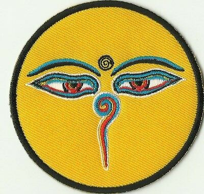 Magnifique Ecusson Patche Thermocollant Patch Yeux Bouddha Jaune Diam 7,8 Cms