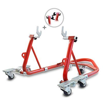 Rear Paddock Stand Dolly Suzuki V-Strom 650 ConStands Mover I Racing Red