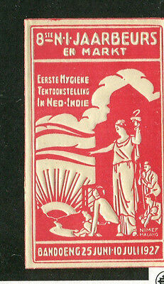 poster Stamp Label JAVA Bandoeng Indonesia 1927 1st HYGIENE EXPO NEO-INDIE Dutch