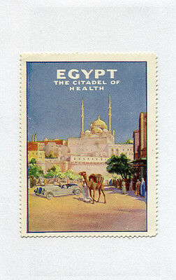 Poster Stamp Label EGYPT THE CITADEL OF HEALTH  camel vintage car  #IM