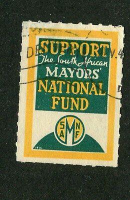 Vintage Poster Stamp Label SUPPORT THE SOUTH AFRICAN MAYORS NATIONAL FUND