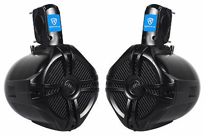 "Pair Rockville RWB65B 6.5"" Black 2-Way 250w Off-Road ATV/UTV/Quad Tower Speakers"