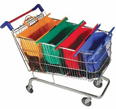 A set of 4 Reusable Detachable Grocery Cart Trolley Shopping Bags Large Capacity