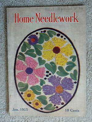 Home Needlework Magazine - January 1915 - Crochet Embroidery - Very Good