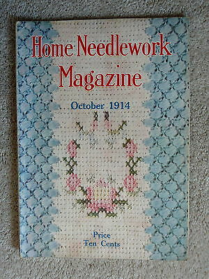 Home Needlework Magazine - October 1914  - Crochet Embroidery - Good Condition
