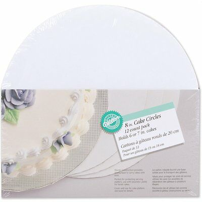 "Wilton 8"" Cake Circle 12 Pack New For Tier Layer Cake White Corrugated Cardboard"