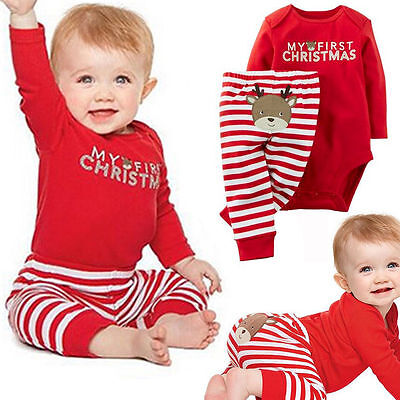 Cute MY First Christmas Newborn Baby Girls Romper Bodysuit Outfits Set XMAS Gift