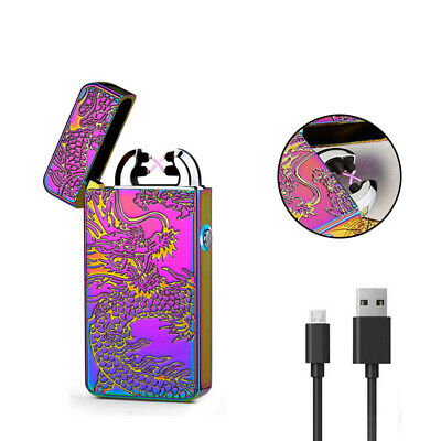 USB Rechargeable Windproof Lighter Electric Double Arc Flameless Plasma Rainbow