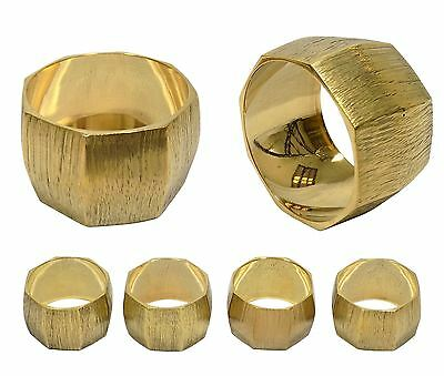 4 X Hotel Restaurant Wedding Hospitality Brass Chisiled Gold Napkin Rings 4Cm