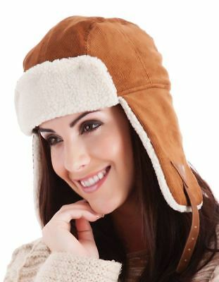 Adults Light Brown Corduroy Trapper Hat with Faux Fur Lining Winter Headgear