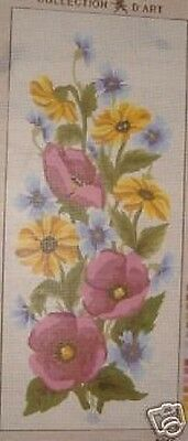 Cornflower Marigolds and Purple Poppies Tapestry Needlepoint Canvas