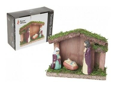 Snow White 3 Piece Mini Traditional Wooden Christmas Nativity Scene 12cm x 4cm