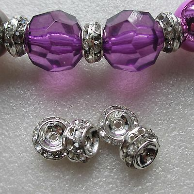 40 Rhinestone Silver Plated Rhinestone Spacer Crystal Beads 12mm Crafts Making