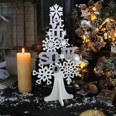 White silver glitter wooden Let it Snow Christmas tree living room decoration