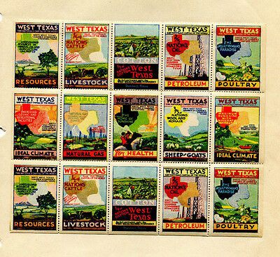 Vintage Poster Stamp Label sheet WEST TEXAS pane of 15 Cotton Livestock Climate