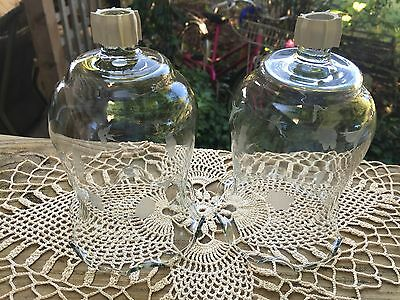 Pair Of Vintage Homco/home Interior Clear Glass Votive Cups With Etched Flowers
