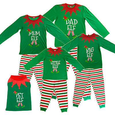 Christmas Green Elf Pyjamas Family Matching PJs Dad Mum Little Pet Fancy  Dress dfc2370a0