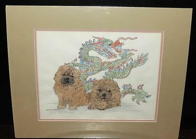 "Red Chow Chow Puppies with Dragon 20"" x 16"" Matted B.Hickman Print # 3/100"