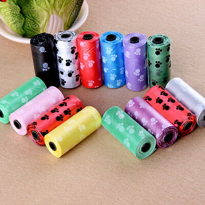 5 Rolls Pet Dog Cats Waste Plastic Bag Degradable Poop Clean Up Bags & Refills